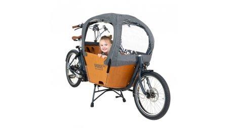 Biporteur Babboe City avec option tente de pluie et porte-bagage