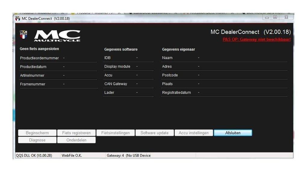 Interface de mise à jour des logiciels vélo électrique MC 33 volts