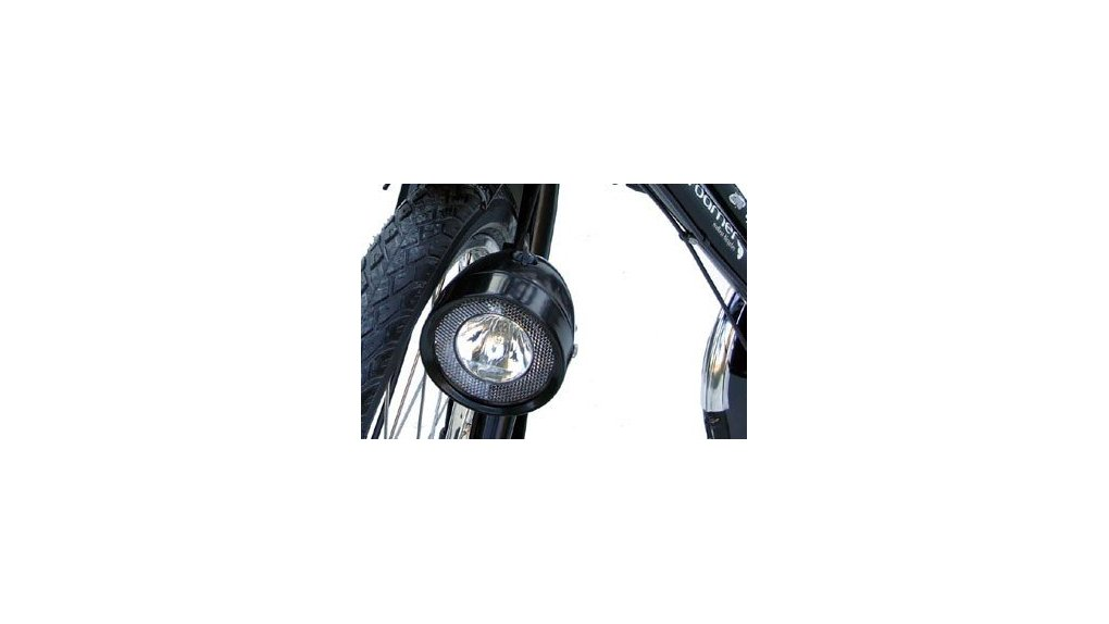 Phare vintage noir sur dynamo, dia 80 mm