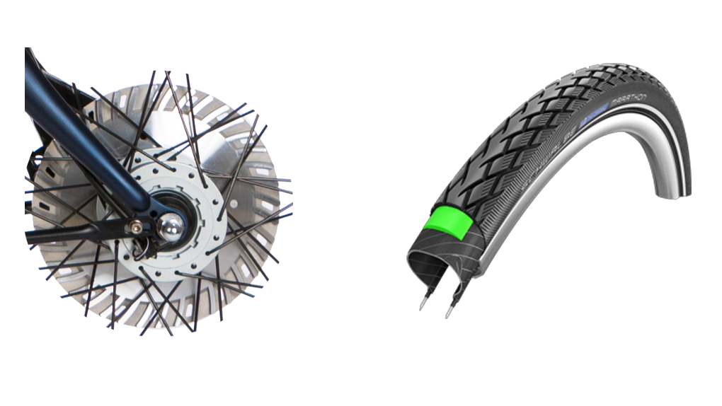 Pneus Marathon, frein ventilé 30% plus puissant