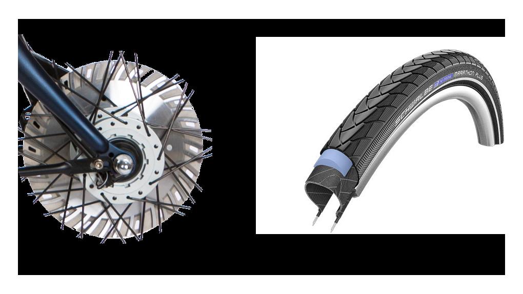 Pneus anti-crevaison MP, frein ventilé 30% plus puissant