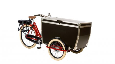 Triporteur Flightcase rouge moteur pédalier shimano steps avec selle B67 Brooks optionnelle