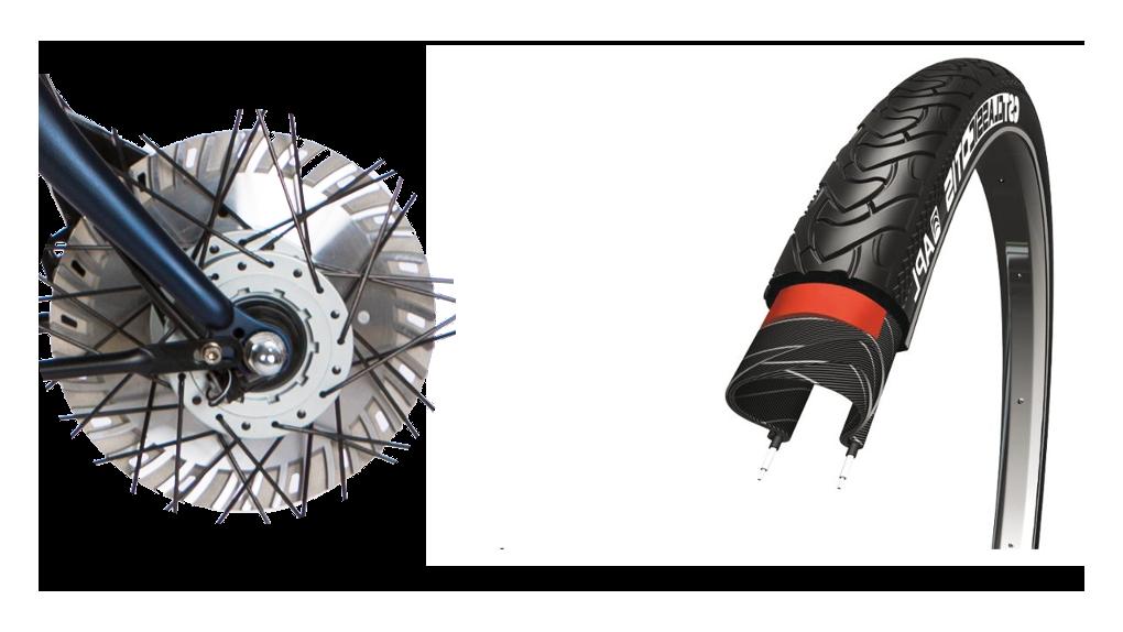 Pneus Marathon, frein(s) ventilé(s) 30% plus puissant
