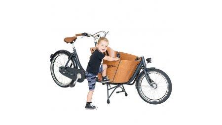 Biporteur court Babboe Mini, un coffre rond pour accueillir deux enfants