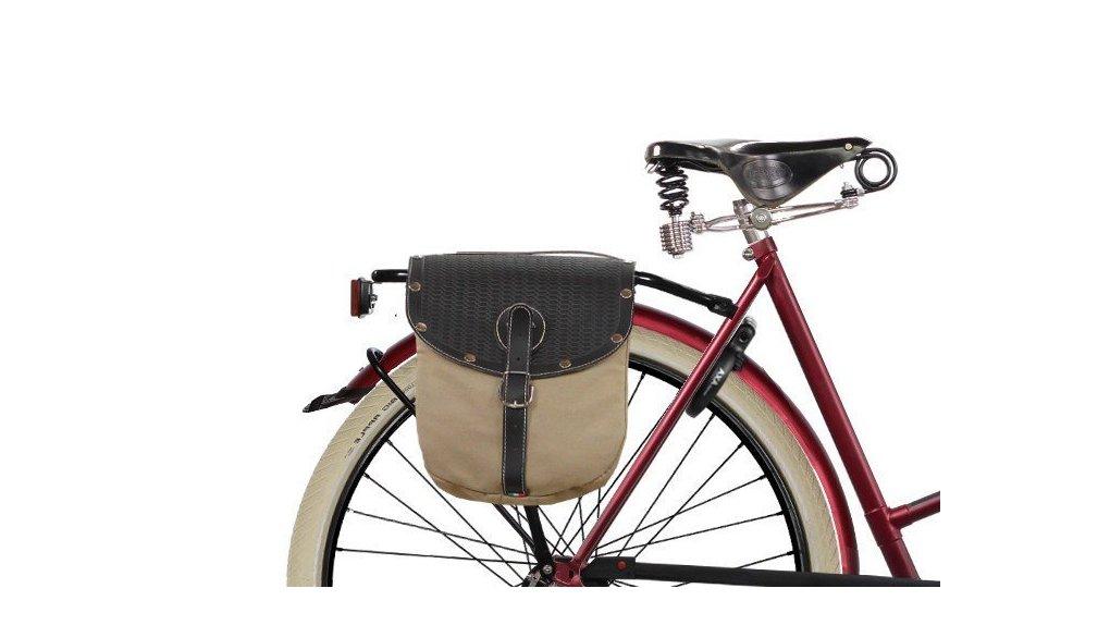 Sacoche double vintage bi-couleur pour porte-bagage avec clapet ressort