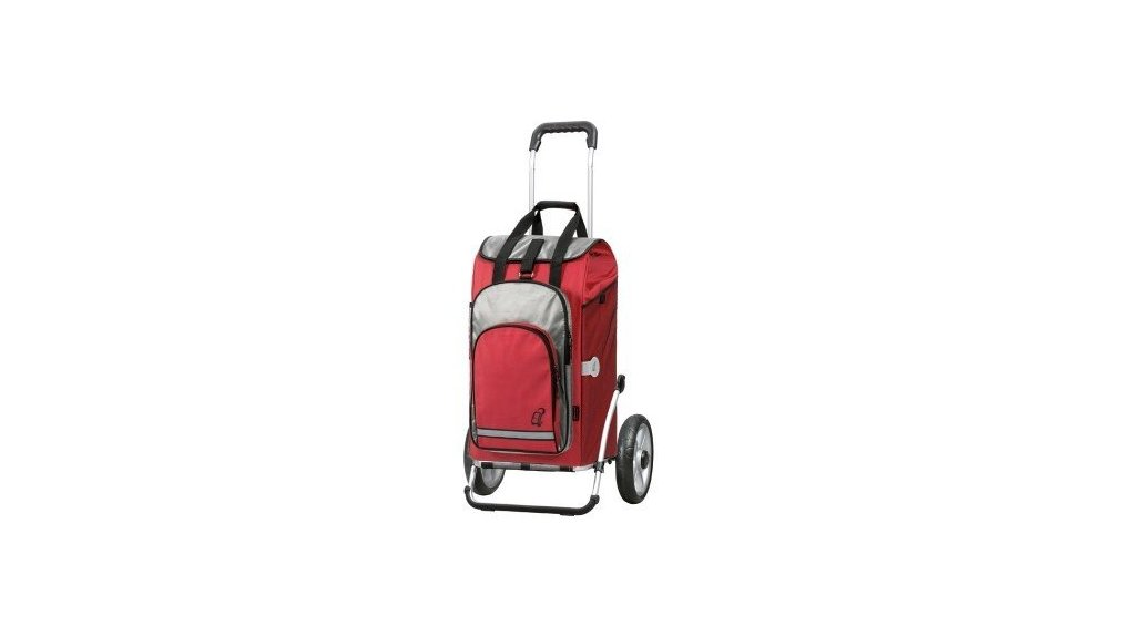 Chariot avec sac isotherme, fixation porte-bag., rouge