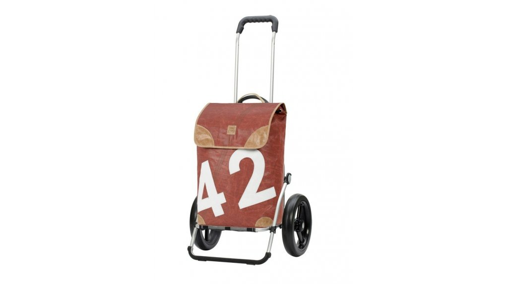 Chariot de course Andersen Lee rouge avec fixation au porte-bagage