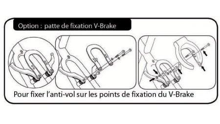 Fixation sur tasseau de frein V-Brake pour un antivol de cadre Axa Defender ou Solid