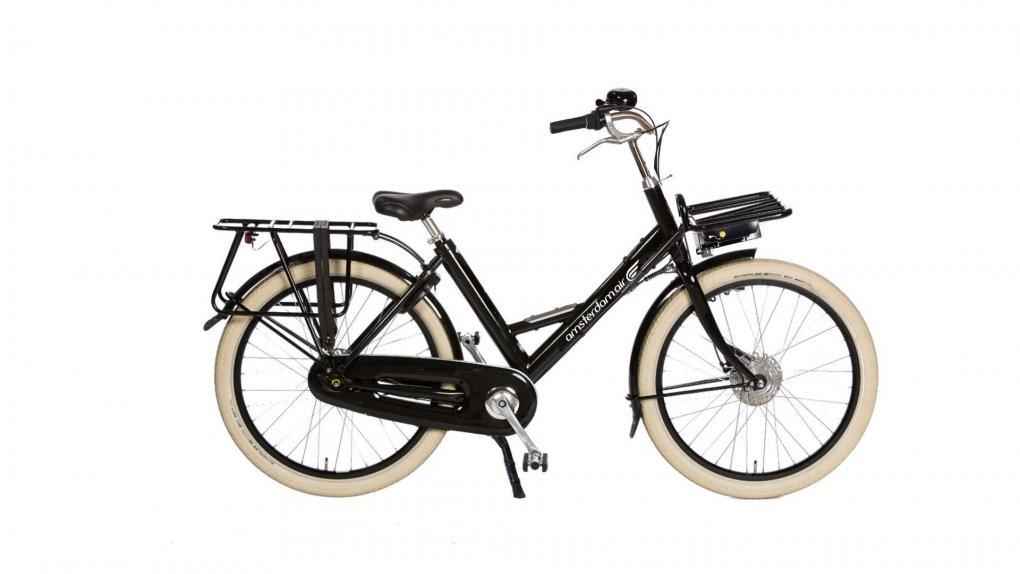 Vélo Amsterdam Air Sherpa, capacité 200 kg, batterie dans la malle en rotin