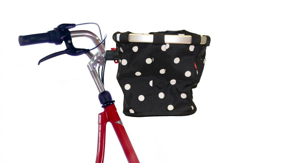 Panier de vélo avant noir à pois blancs Klickfix