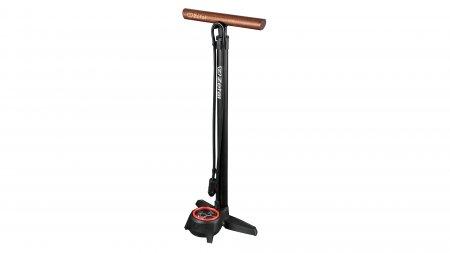 Pompe à pied pour vélo avec manomètre et poignée en bois