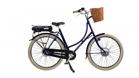 Oma Premium électrique avec panier en osier et pneus ballons marrons