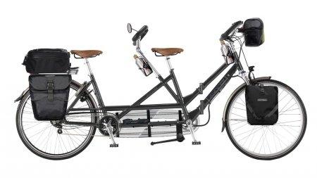 Tandem électrique cyclotourisme pliant Rohloff avec sacoches randonnée Ortlieb