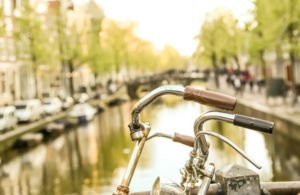 Close-up of bicycle in Amsterdam, The Netherlands.