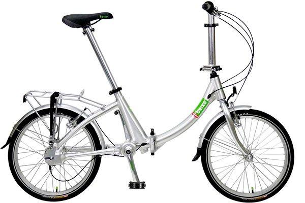 Vélo pliant 20 pouces. Grâce aux engrenages du cardan les développements sont identiques à ceux d'un vélo de 28 pouces