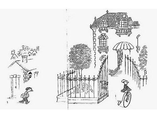 Le pauvre est à pied d'un air résinié et le riche à vélo, sur son grand-bi