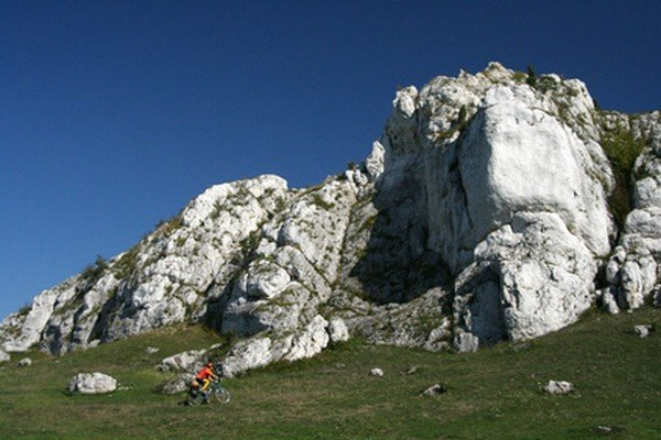 Cyclist and rocks