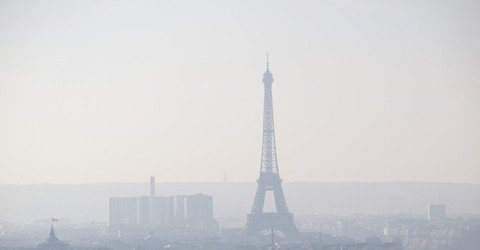 View of Paris with the Eiffel Tower in the mist