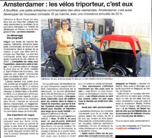 Article de Presse Ouest France Amsterdam Air Vélos hollandais Biporteur Triporteur