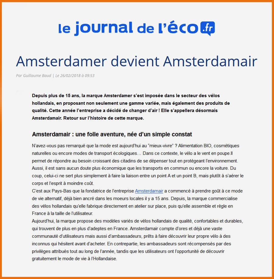 Article Le Journal de l'Éco.fr