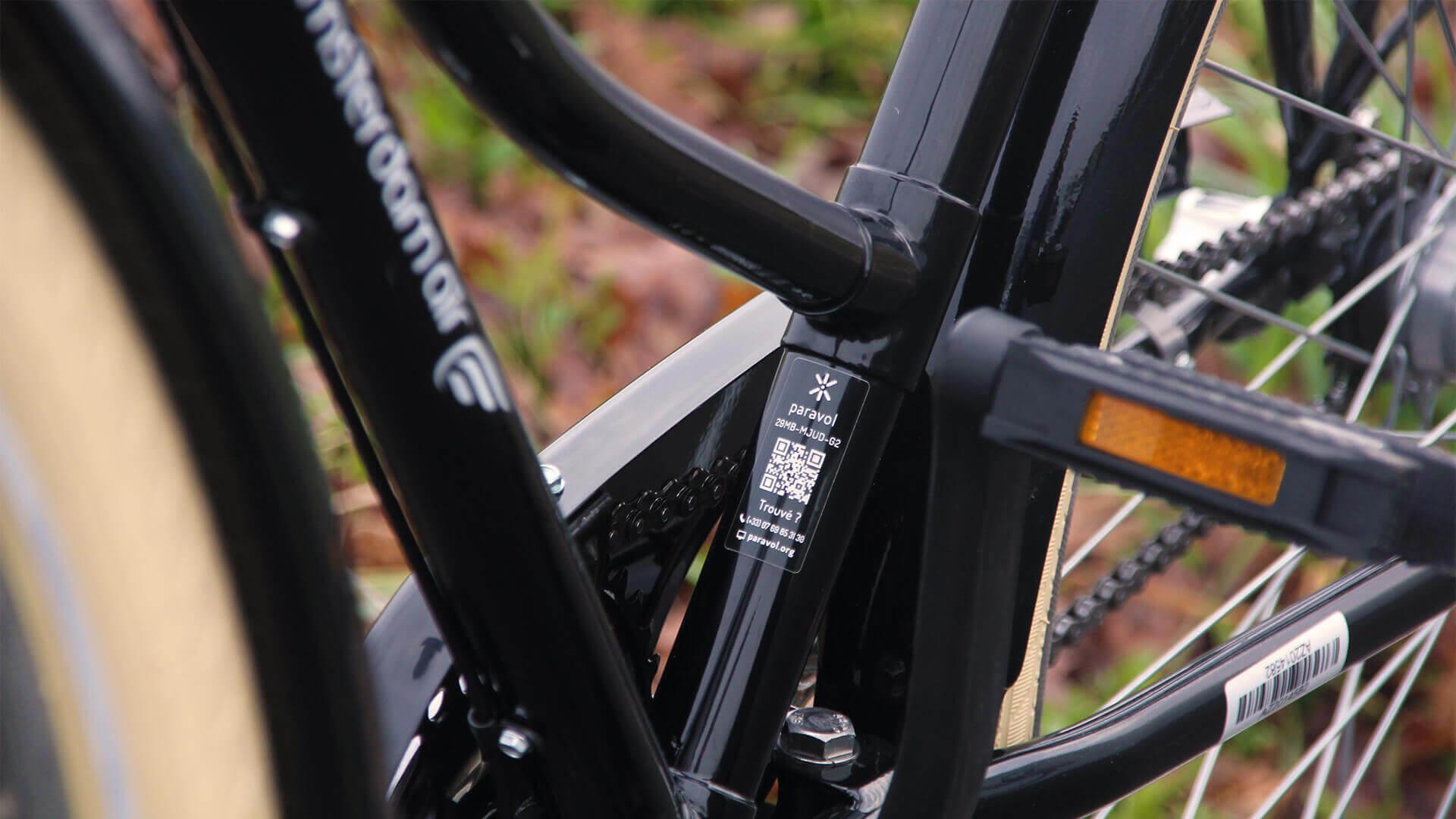 Étiquette Paravol sur cadre de vélo hollandais Amsterdam Air
