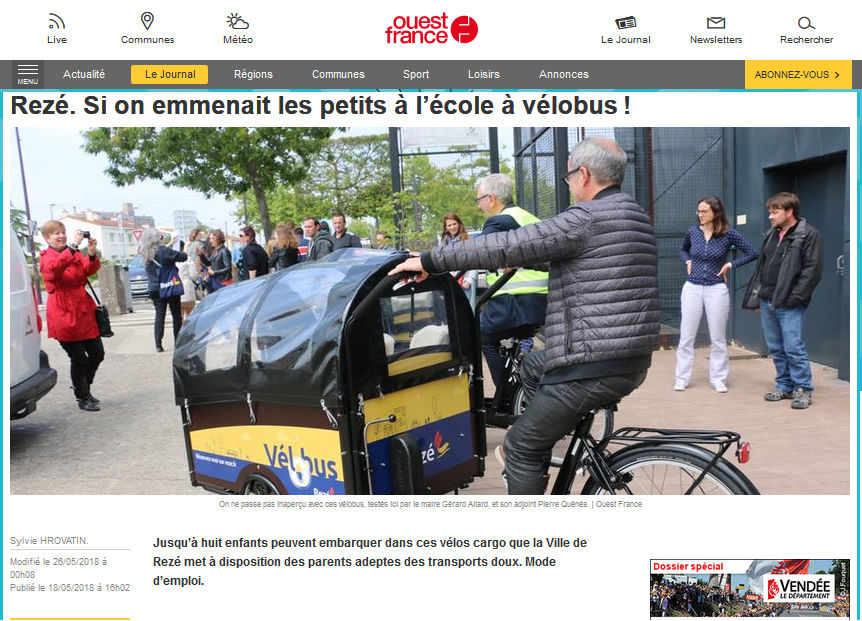 Velobus Amsterdam Air - article Ouest France
